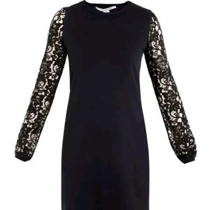 DVF navy black Kivel Lace sleeve dress Large